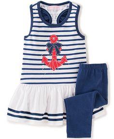 Kids Headquarters Little Girls' or Toddler Girls' 2-Piece Anchor Tunic & Leggings Set