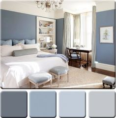 Monochromatic color palettes are based off of a single color. A successful monochromatic wall color scheme uses a dark, medium and light shades or tones of one color. To relieve the potential of overwhelming use of color you can add ample amounts of whites or off-whites, or small amount of black or a complement hue.