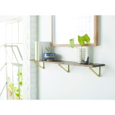 Wall Shelf with Polished Brass Brackets - Large - Threshold™ : Target