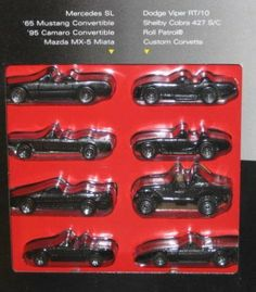 1995 Hot Wheels Black Convertible Collection Set of 8 - Mercedes SL/'65 Mustang/'95 Camaro/Mazda MX-5 Miata/Dodge Viper RT/10/Shelby Cora 427 S/C/Roll Patrol/Custom Corvette by Mattel. $30.25. Target Exclusive Special Limited Edition. 1:64. All Black Convertibles. Hot Wheels Black ConvertableTarget Set 1/64 Scale Die Cast Cars: Mercedes SL '65 Mustang Convertable '95 Camaro Convertable Mazda MX-5 Miata Dodge Viper RT/40 Shelby Cobra 427 S/C Roll Patrol Custom Corvette