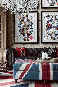 Masculine doesn't have to mean dark. There's a ton of color and interesting imagery here! Plus a Chesterfield sofa is always welcome!