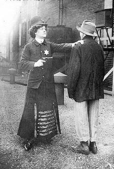 """Police woman, 1908.   """"Suffragette posed in police uniform to illustrate woman police concept, Cincinnati, Ohio""""    - Bain Collection, Library of Congress"""