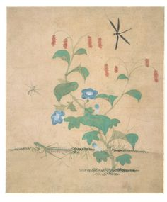 Grass and Insects Perilla and Mantis, Attributed to Lady Sin Saimdang, Joseon Dynasty, 28.3x33.2cm, National Museum of Korea.