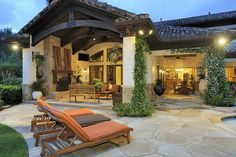 Creative Idea:Tuscan Backyard Design With Brown Wood Lounge Deck Chairs Feat Brown Seat Near Vintage Patio With Rusic Fireplace And Brown Wood Bench Seat The Best Ideas to Decorating Comfy Tuscan Backyard