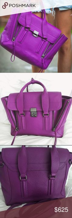 Phillip Lim Pashli Medium Satchel Orchid Gorgeous Phillip Lim Pashli medium satchel in color orchid-- used twice. Originally purchased from Neiman Marcus for $895+ tax-- rare and beautiful color! Very durable leather and long strap to wear bag cross body. Brushed gunmetal hardware. Hard to capture color in pictures-- bright, rich purple shade. Google the title to view more images! :) Stunning for summer. Reasonable offers welcome! No trades. 3.1 Phillip Lim Bags Satchels