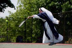 Sister playing tennis.