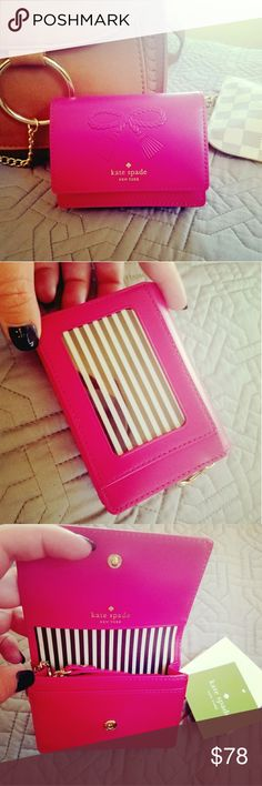 """NWT Kate Spade Baker Lane Beca small wallet Small wallet/card & I.D. holder ? multiple pockets inside, including a zippered area for coins ? color is """"Punch"""" a hot pink in person, perfect bright color for summer! kate spade Bags Wallets"""