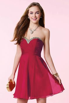 Wishesbridal Lovely Sweetheart Mini Red #Chiffon A Line #Cocktail Homecoming Dress Cac0074