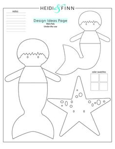 MINI PALS - Under the Sea collection soft doll sewing pattern (includes several hairstyles and body options to mix and match) to make your own 14 doll with attached tail (2 styles) OR removable tail Mini Pals are super adorable and perfectly portable dolls to hug, hold and take