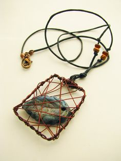 Raku leaf in copper cage necklace - from heversonart on Etsy