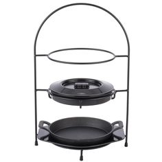 Add some Mexican flavor to your buffet line with this Tablecraft FTR1711KIT 4 piece black steel fajita tower set! Coming with everything you need to begin serving up sizzling fajitas to your guests, this tower set features a tall design that'll add dimension to tables without taking up too much space. <br><br> The sturdy, steel rack boasts a 3 tier design to conveniently hold the included fajita platter, underliner, tortilla warmer, and compatible plates all on one tower. Whil...