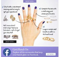 Charming Charlie's instructions on how to wear multiple rings on one hand. #Jewelry