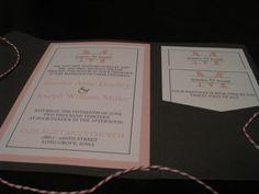 Pink and Grey Pocketfold Wedding Invitation Suite.