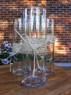 Tall Cylinder Vases Wrapped in Twine by SimplySalvagedDecor, $4.50