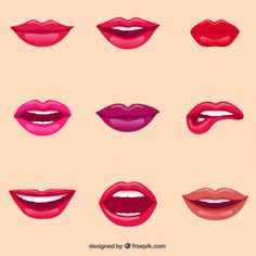 Labios femeninos Vector Gratis