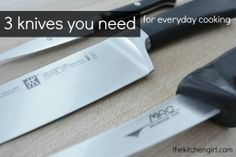 3 Knives You Need For Everyday Meals. Anyone who cooks should have the basics. thekitchengirl.com #giftidea #kitchenbasics