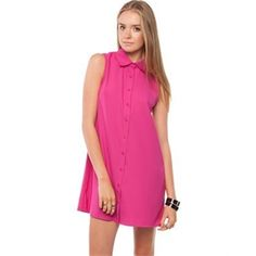 Ezra - Cut Out Back Shirt Dress - Dresses Available in Magenta