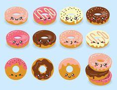Premie Vector Clipart Kawaii Donuts Cute Donut