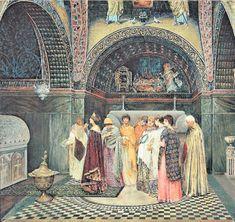 """Fatih Camisi Avlusu'nun altındaki Bizans Vasily Sergeevich Smirnov'un ( 1858- 1890) """"İmparatoriçe, Kutsal Havariler Kilisesi'nde atalarının mezarlarını ziyaret ediyor"""" adlı tablosu"""
