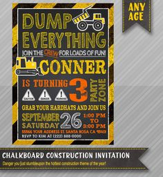 Construction Birthday Invitation - Printable Construction Invitation. We also carry matching Thank You Cards, Construction Signs, Table Tents as well as other Construction themed invitations and printables. by #wolcottdesigns - http://www.wolcottdesigns.com