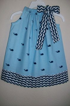 Pillowcase Dress with Whales Girls Dress Whale Dress Nautical dress Summer Dress for Ocean Party baby dress toddler dress with Chevron Baby Blue Dresses, Little Girl Dresses, Baby Dress, Girls Dresses, Little Girl Outfits, Little Girl Fashion, Kids Outfits, Kids Fashion, Fashion Outfits