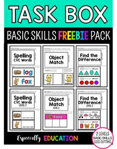 Free Task Boxes Curious about adding task boxes into your daily routine? Instill student independence with these 3 free task box activities. This set includes:Find. Life Skills Activities, Special Education Activities, Special Education Classroom, Music Education, Education Quotes, Teaching Resources, Teaching Ideas, Autism Classroom, Classroom Activities