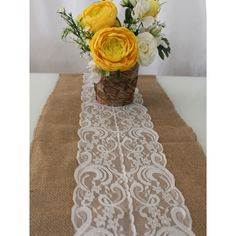 Burlap and Lace Tabl