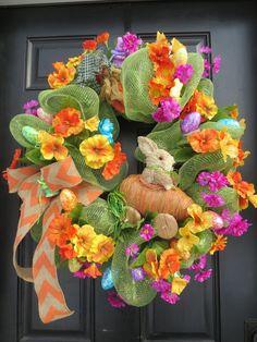 Easter Wreaths, Easter Door Wreaths, Easter Bunny Wreath, Mesh Wreath, Spring Wreath, Easter Eggs, Easter Decor, Easter Front Door Wreaths
