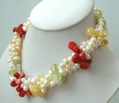 3 strands freshwater pearls crystal& coral necklace Freshwater Pearl Necklaces, Antique Stores, Strands, Fresh Water, Gemstone Jewelry, Beaded Necklace, Coral, Gemstones, Crystals