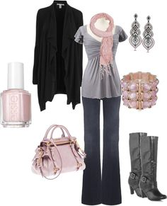 """Everyday Pink and Gray"" by medeak on Polyvore"