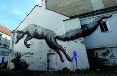 Street paintings by ROA.