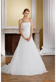 Trägerlos  Elegante Brautkleider 2014 aus Chiffon mit Blumen