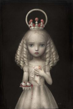 'Dulcis Agata' by Nicoletta Ceccoli. Find out more about Nicoletta and see more of her intriguing art in her interview at wowxwow.com. (painting, narrative, story, innocence, childhood, maturity, dreams, macabre, mystery, symbolism)