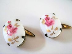 Excited to share the latest addition to my shop: Vintage Guilloche Cuff Links, White Enamel, Ceramic Pink Roses, Gold Tone Setting Vintage Pearls, Vintage Earrings, Vintage Jewelry, Unique Jewelry, Vintage Gifts, Etsy Vintage, Jade Ring, Floral Necklace, White Enamel