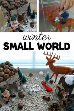 Grab some toys, natural materials, and milk carton houses for winter small world play. Pretend play and sensory fun perfect for winter time. Weather Activities, Preschool Learning Activities, Play Based Learning, Preschool Sight Words, Preschool Lesson Plans, Small World Play, Multiplication For Kids, Imaginative Play, Early Childhood