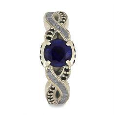 Meteorite Ring, Engagement Rings, Filigree Ring, White Gold Rings, Blue Sapphire, Jewelry Rings, Gemstone Rings, Gemstones