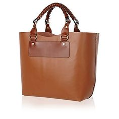 BEIGE STRUCTURED LEATHER TOTE BAG - River Island price: £70.00