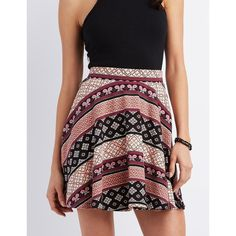 Charlotte Russe Printed Skater Skirt ($17) ❤ liked on Polyvore featuring skirts, pink multi, circle skirt, flared skirt, pink floral skirt, floral print skirt and floral print skater skirt
