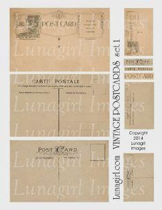 vintage postcards digital collage sheet by Lunagirl Vintage Images