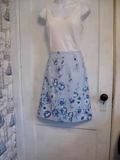 Blue Floral A-line Skirt 30 inch waist  Modest Skirt by HappyRagz