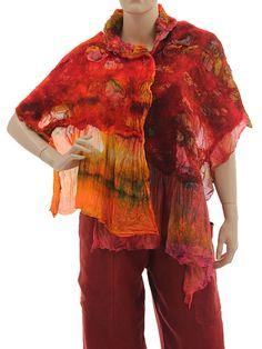 Lightweight unique shawl / scarf merino felt silk - red orange green - Artikeldetailansicht - CLASSYDRESS Lagenlook Art to Wear Women's Clothing