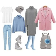 A fashion look from October 2017 featuring long sleeve loose dress, white short sleeve t shirt and wool turtleneck sweater. Browse and shop related looks. Grey Plus Size Dresses, Fendi Clothing, Winter Looks, Polyvore Fashion, Winter Outfits, Fashion Looks, Michael Kors, Couture, My Style