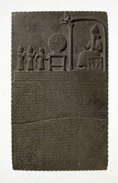 The Sun God Tablet, Limestone  Found Sippar, Iraq, c. 860-850 BC  Babylonian