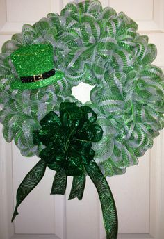 Handmade Green and White Saint Patrick's Day Deco Mesh Wreath by WreathsByJeanZ on Etsy https://www.etsy.com/listing/214441003/handmade-green-and-white-saint-patricks