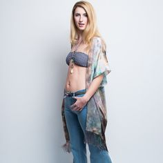 Groovy festival feel in the Desert fringe Kimono - pure silk #handdyed in an artistic blend of Aqua, peach and earth tones, creating a watercolor effect. Check the site for other colorways.