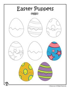 Make adorable Easter clothespin puppets with this fun printable craft. Insect Crafts, Frog Crafts, Letter E Craft, Shopkins Colouring Pages, Art Activities For Toddlers, Spider Crafts, Unicorn Crafts, Printable Crafts, Easter Crafts For Kids