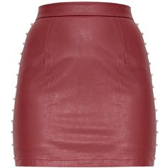 Orabella Black Studded PU Mini Skirt (48 AUD) ❤ liked on Polyvore featuring skirts, mini skirts, mini skirt, studded mini skirt, studded skirt, short skirts and pu skirt