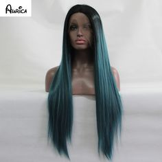 Ombre Turquoise Green Teal Silk Straight Synthetic Lace Front Wig