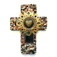 Wall cross CROSS CHRISTMAS GIFTS cross love one of a kind cross found... ($42) ❤ liked on Polyvore featuring home, home decor, catholic gift, heart home decor and cross home decor