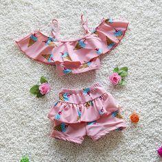 Crianças Meninas Swimwear Duas Peças Ice Cream Impresso Swimsuit para crianças de Biquíni Bebê Menina Miúdos Grandes Meninas Fatos de banho Rosa amarelo